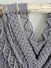 Load image into Gallery viewer, Extra Wide Pewter Macrame Wall Hanging