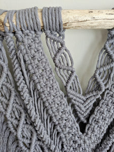 Extra Wide Pewter Macrame Wall Hanging