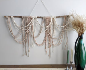 Draped Minimalist Mid Century Modern Macrame Wall Hanging - String Theories Fiber Design
