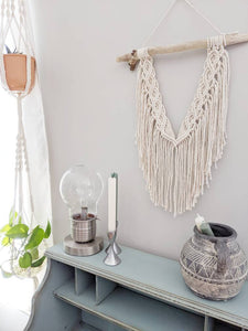 Macrame Wall Hanging - Mini Double Spiral Pattern in Cream - String Theories Fiber Design