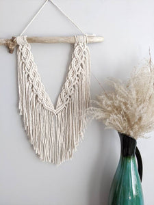 Macrame Wall Hanging - Mini Double Spiral Pattern in Cream