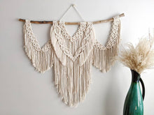 Load image into Gallery viewer, Macrame Wall Hanging - Cream Triple Fringe with Circle Pattern - String Theories Fiber Design