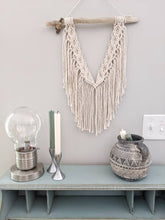 Load image into Gallery viewer, Macrame Wall Hanging - Mini Double Spiral Pattern in Cream - String Theories Fiber Design