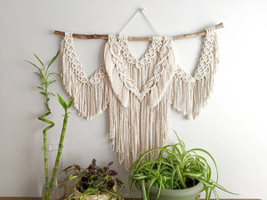 Macrame Wall Hanging - Cream Triple Fringe with Circle Pattern - String Theories Fiber Design