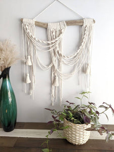 Macrame Minimalist Draped Wall Hanging - Tassels - String Theories Fiber Design