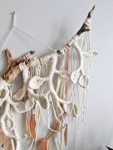 Macrame Wall Hanging Sculpture - Draped Silk - Copper Leaves