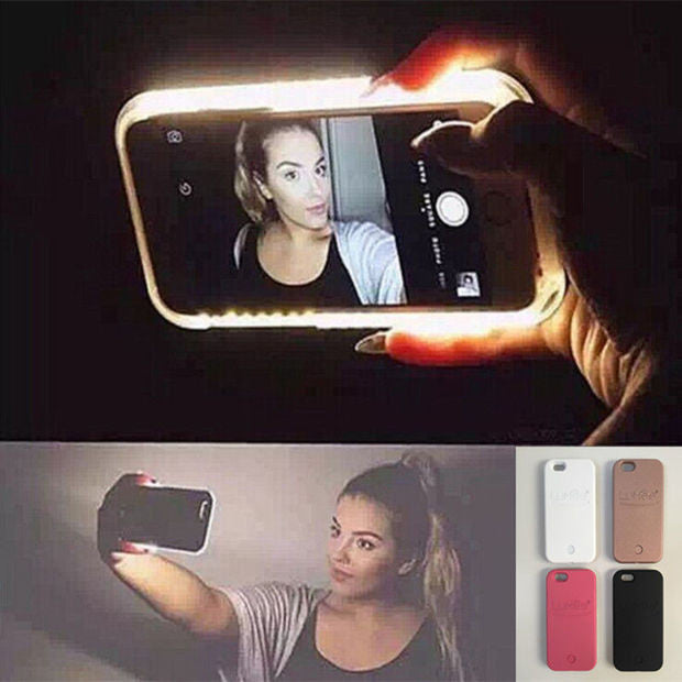 newest ee32a 85bd4 Hot LED Light selfie Phone Case for iPhone 7 7 Plus 5 5S SE 6 6s 6 Plus 6s  Plus Case Light Selfie Led Cover 5 colors-0320