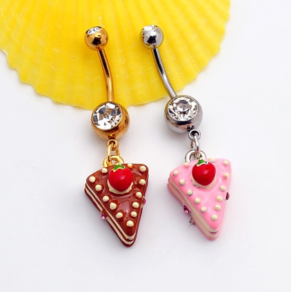 Lovely Triangle Cake Belly Button Ring Antiallergic Navel Belly Ring 0428 Gifts Box
