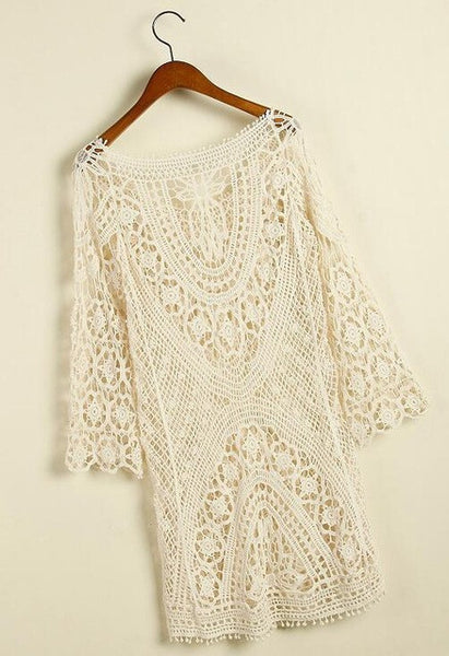 a0647b33af ... 2017 Sexy Beach Crochet Cover Up Women Long Sleeve Hollow Out Mesh  Swimwear Coverup Black White