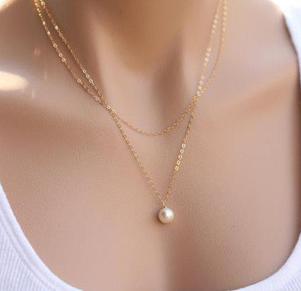 925 Sterling Silver Pearl necklace. Bridal. Wedding. Bridesmaids Gift.