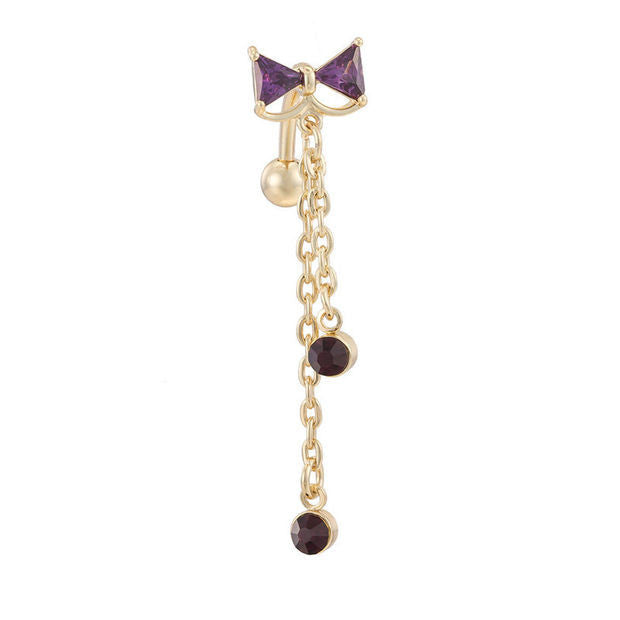 Medical Steel Bowknot Cz Navel Bar Silver Plated Dangle Piercing Reverse Belly Button Ring Sexy Body Jewelry 03324