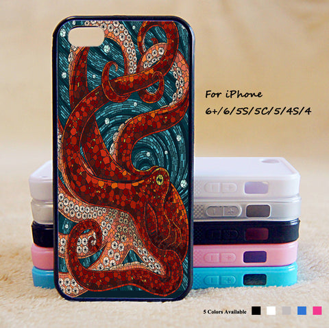 Mosaic Octopus Phone Case For iPhone 6 Plus For iPhone 6 For iPhone 5/5S For iPhone 4/4S For iPhone 5C iPhone X 8 8 Plus