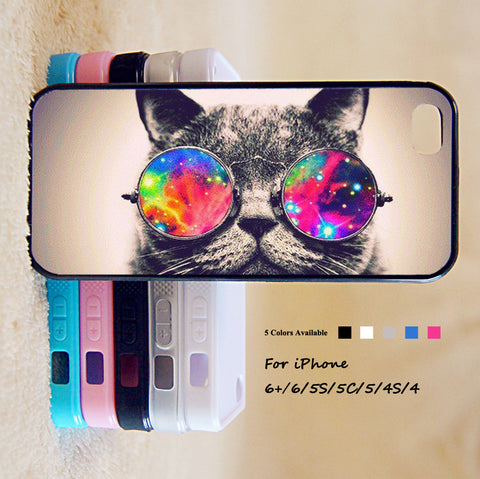 Cute Cat With Sunglasses Phone Case For iPhone 6 Plus For iPhone 6 For iPhone 5/5S For iPhone 4/4S For iPhone 5C3 iPhone X 8 8 Plus