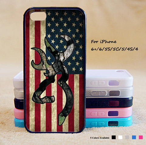 Browning Deer Camo American Flag Phone Case For iPhone 6 Plus For iPhone 6 For iPhone 5/5S For iPhone 4/4S For iPhone 5C iPhone X 8 8 Plus