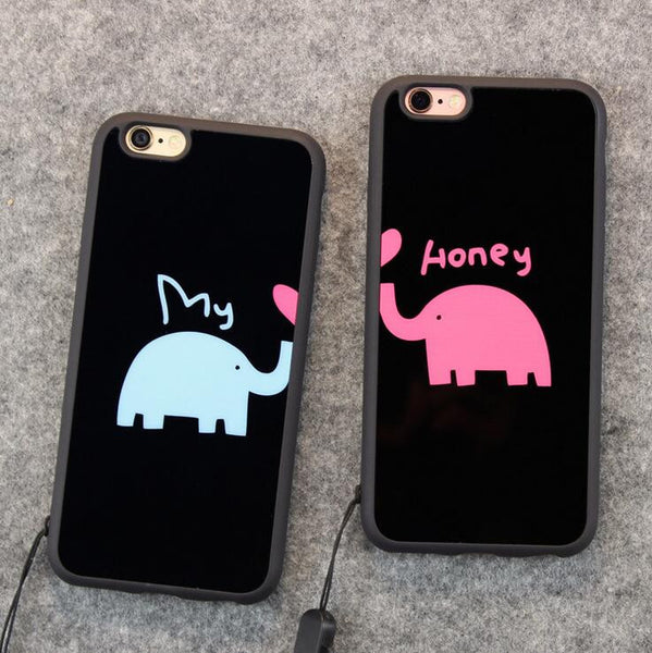 promo code 8ec4a b8e21 Cute elephant baby couple mobile phone case for iPhone 7 7 plus iphone 5 5s  SE 6 6s 6plus 6s plus + Nice gift box!