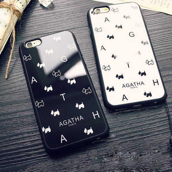 reputable site e893e 9ee9d Cute white and black dog couple mobile phone case for iPhone 7 7 plus  iphone 5 5s SE 6 6s 6plus 6s plus + Nice gift box!