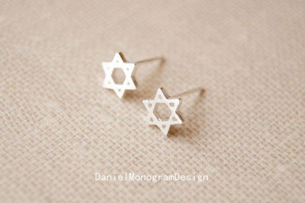 bc46b504a 925 Sterling Silver Six Pointed Star earrings,delicate sterling silver  earrings