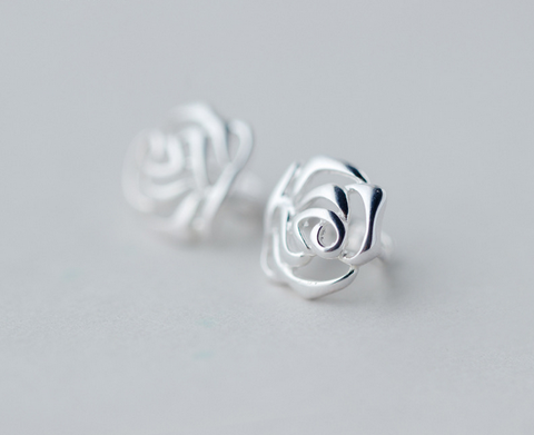 925 Sterling Silver flower earrings,dainty rose earring dangles with gift box