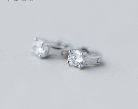 925 Sterling Silver elegant rhinestone earrings,dainty shining rhinestone earrings with gift box