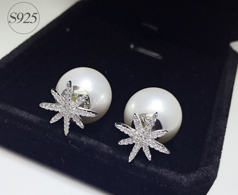 925 Sterling Silver elegant pearl earrings,dainty freshwater pearl flower earrings with gift box