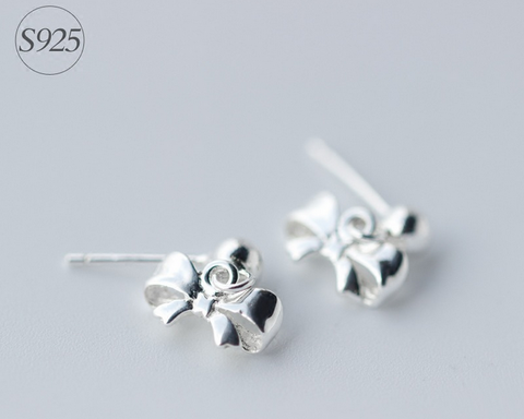 925 Sterling Silver bowknot earrings,dainty bowknot earrings with gift box