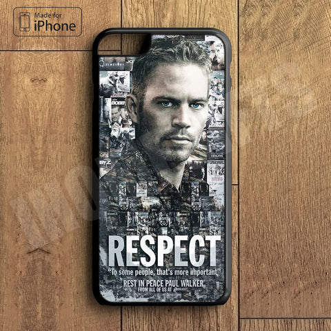 Paul Walker Respect Plastic Case iPhone 6S 6 Plus 5 5S SE 5C 4 4S Case Ipod Touch 6 5 4 Case