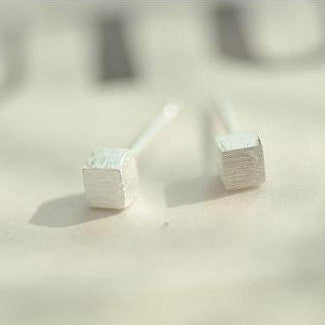 925 Sterling Silver Cube Silver Stud Earrings