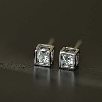925 Sterling Silver Cube Love Magic Silver Stud Earrings