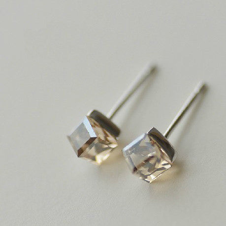 925 Sterling Silver Champagne Cube Crystal Silver Stud Earrings