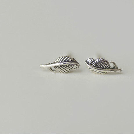 925 Sterling Silver Feather Retro Silver Stud Earrings