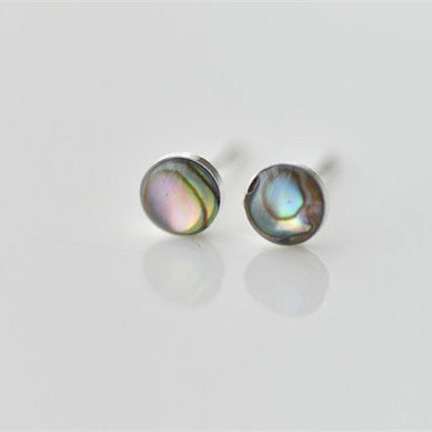 925 Sterling Silver Awabi Mother of Pearl Round Cute Simple Hand-made Stud Earring