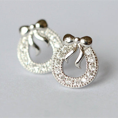 925 Sterling Silver Bowknot Circle Hoop Shining Silver Stud Earrings
