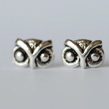 925 Sterling Owl Cute Retro Silver Stud Earrings