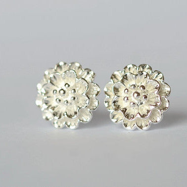 925 Sterling Silver Flower Stud Earrings
