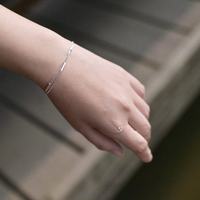 925 Sterling Silver Square Bar Fashion Simple Silver Bracelet