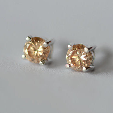 925 Sterling Silver Champagne Round Zircon Shining Silver Stud Earrings