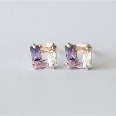 Square Colorful Crystal Shining Sterling Silver Stud Earrings