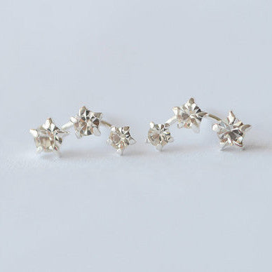 Three Star Zircon Shining Sterling Silver Stud Earrings