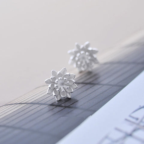 925 Sterling Silver Lotus Flower Silver Stud Earrings