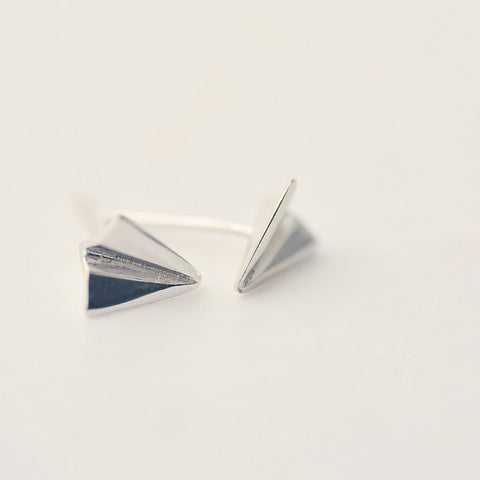 925 Sterling Silver Paper Airplane Silver Stud Earring