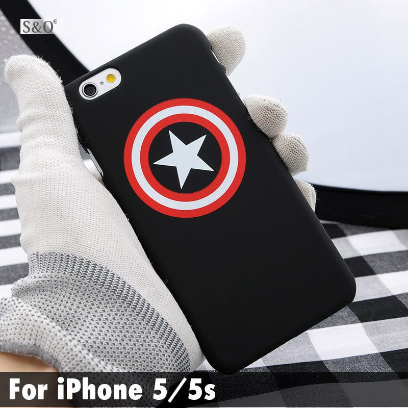 Cool Captain American Painting Hard PC PC Phone Case For iphone 5 5s 6 6s 6plus Black Red Shell Back Cover