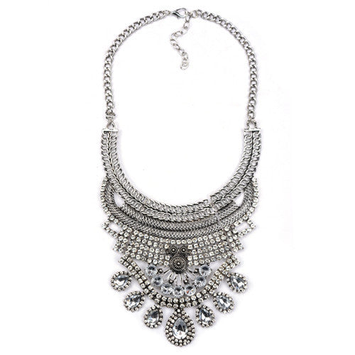 0867912c71 2016 Collar ZA Necklaces & Pendants Vintage Crystal Maxi Choker Statement  Silver Collier Femme Boho Big Fashion Women Jewellery
