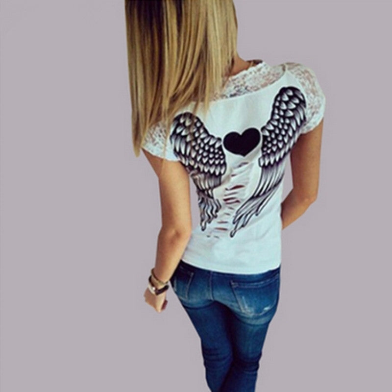 Back Hollow Angel Wings T-shirt Tops Summer Style Woman Lace Short Sleeve  Tops T shirts Clothing-0412 74f3f96d8