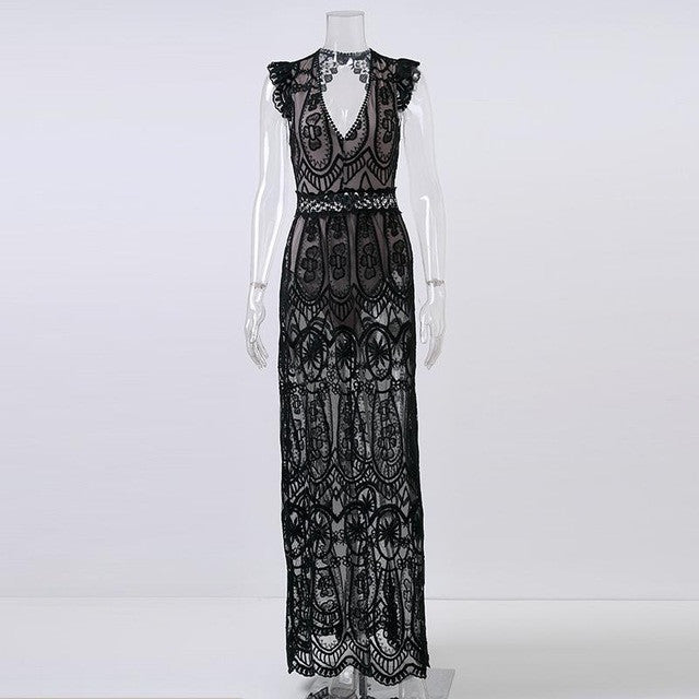 dff924fa26ea Sexy Hollow Out White Lace Dress Women Spring High Waist Sleeveless Ba –  iHomeGifts