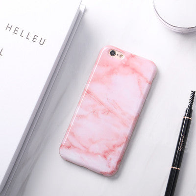 official photos 0174d 64111 Glossy Granite Pink Marble Phone Case for iPhone 6s 6 6Plus 6+ 7 7Plus Soft  TPU Silicon Funda Cases Back Cover -0324