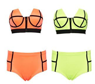 Fashion High Waist Retro Vintage Swimwear Swimsuits Zip Decor Color Block Green Orange Bikini Set Push Up Swimsuit Womens Beach wear A15-43