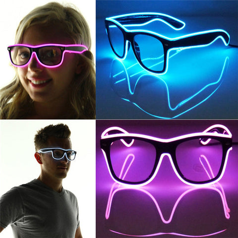 2015 Fashion Shutter Light Up El Wire Glow Shades EDM EDC Rave Party Bar Eyeswear Accessory Sunglasses Music-Box