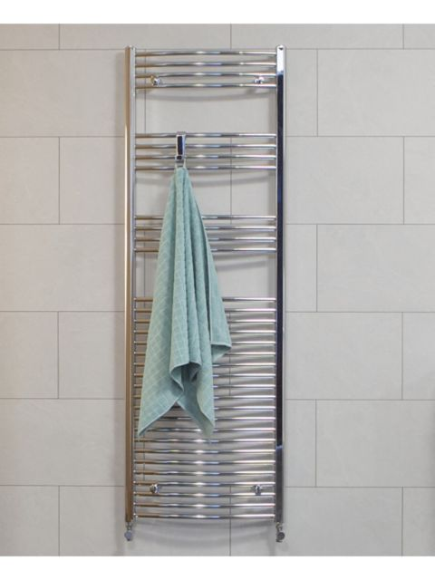 Curved Chrome Towel Rail 1800 x 500 mm