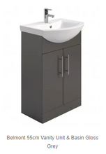 Load image into Gallery viewer, Belmont Gloss Grey Vanity unit and Basin