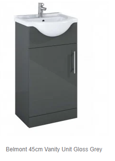 Belmont Gloss Grey Vanity unit and Basin